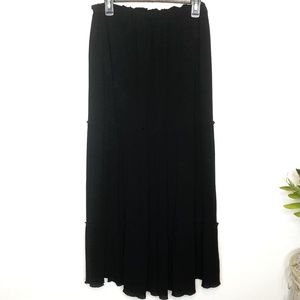 bbd435cd07d Zara Basics Maxi Skirt Layered Ruffles Sz L Black